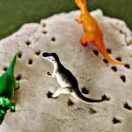(tot school tuesday) homemade glitter play dough & dino tracks activity