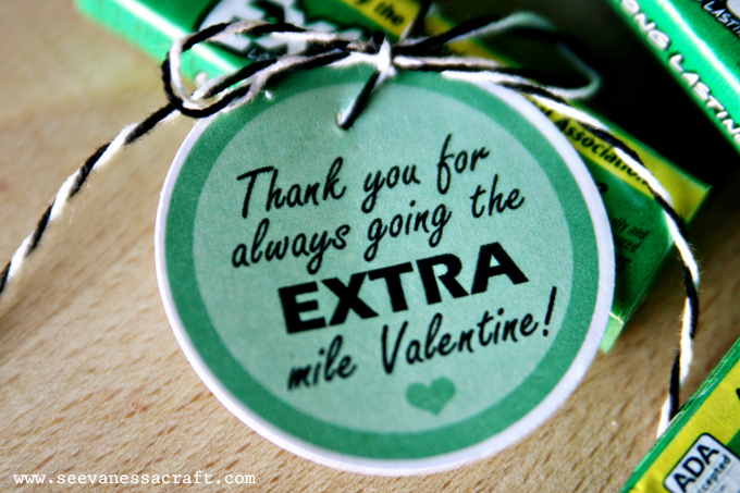 photograph relating to Thanks for Going the Extra Mile Printable identified as printable) added gum valentine - Check out Vanessa Craft