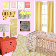 (nursery) pink, yellow & coral idea board