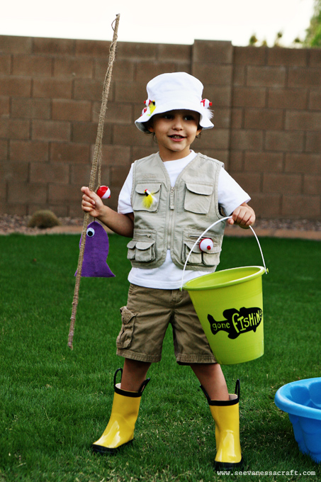 Halloween diy fisherman and fish family costumes see for Kids fish costume