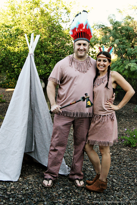 20 crafty days of halloween no sew indian costumes see vanessa craft nicole used blogilates diy pocahontas costume solutioingenieria Choice Image