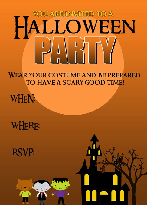 Candid image inside free printable halloween party invitations