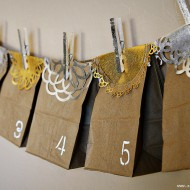 (diy tutorial) holiday paper bag advent calendar & gilded clothespins