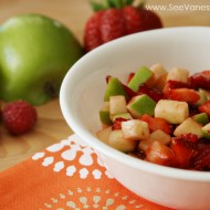 (recipe) fruit salsa and edible butterfly cinnamon chips