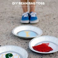 (the party hop) bean bag toss, cork cupcake flags, market stamps