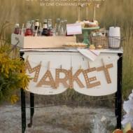 (the party hop) market banner, paper pumpkins, printable pie sign