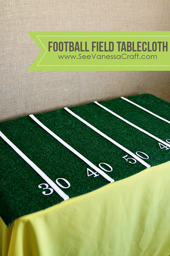 (party) easy football field tablecloth - See Vanessa Craft