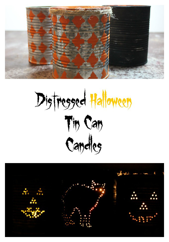 Distressed Halloween Tin Can Lanterns / Sparkle via www.seevanessacraft.com