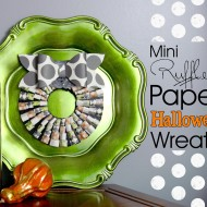 DIY Mini Ruffled Paper Halloween Wreath / The Scrap Shoppe for www.seevanessacraft.com