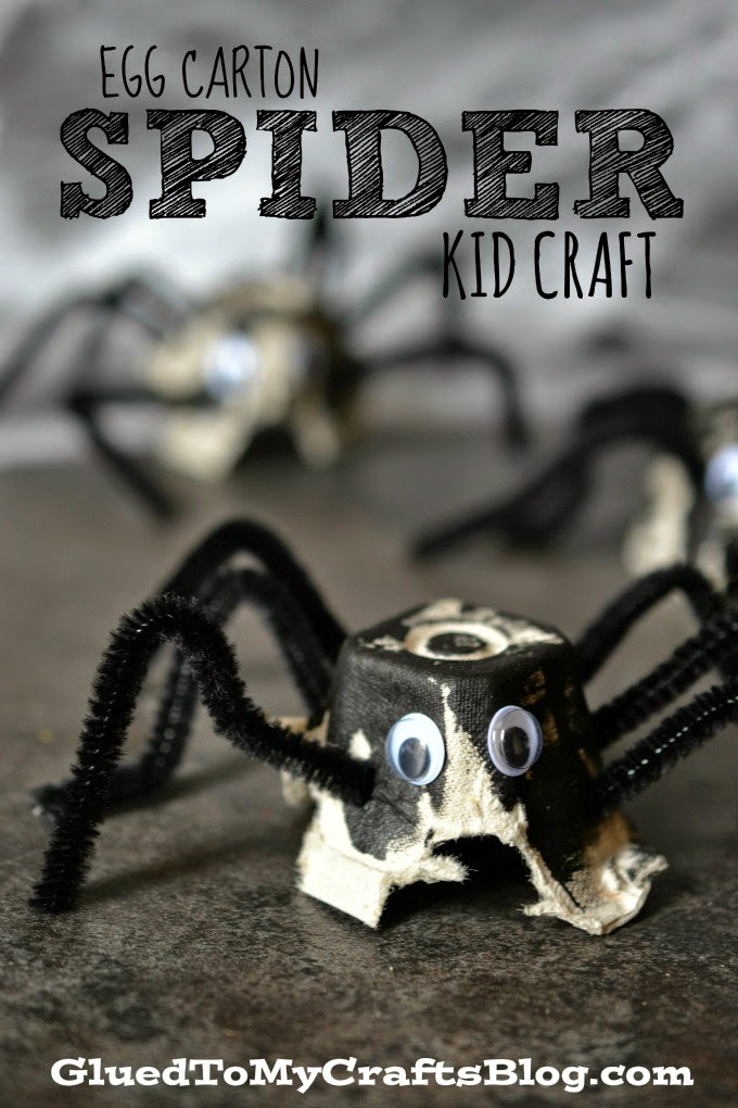 Egg Carton Spider Kid Craft #halloween / Glued To My Crafts for www.seevanessacraft.com