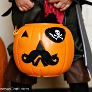 (halloween) easy pirate pumpkin trick or treat bucket
