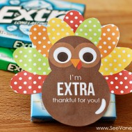 Thanksgiving: Extra Thankful Turkey Printable Gift Tag