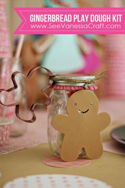 Gingerbread Playdough Kit Gift   www.seevanessacraft.com