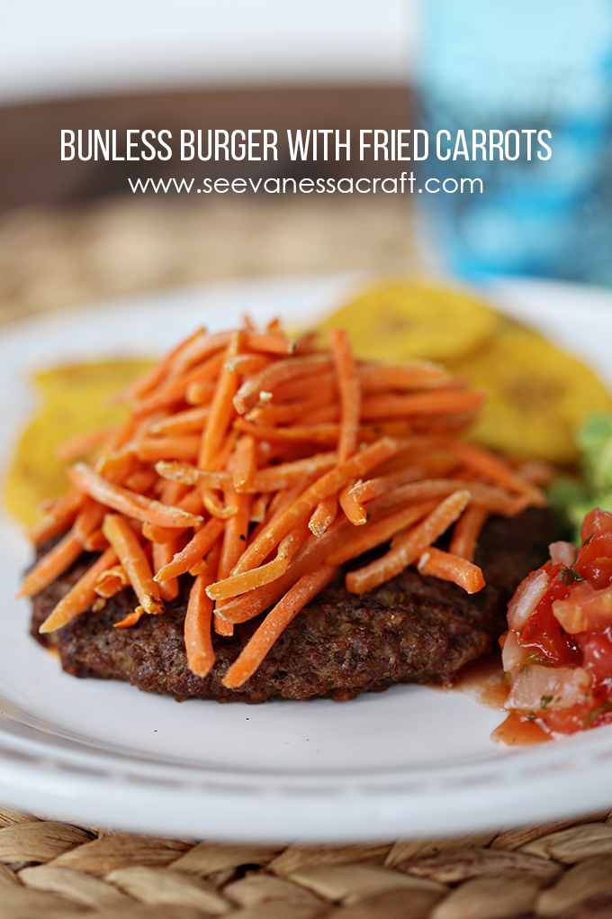 Whole30 Bunless Burger with Fried Carrots