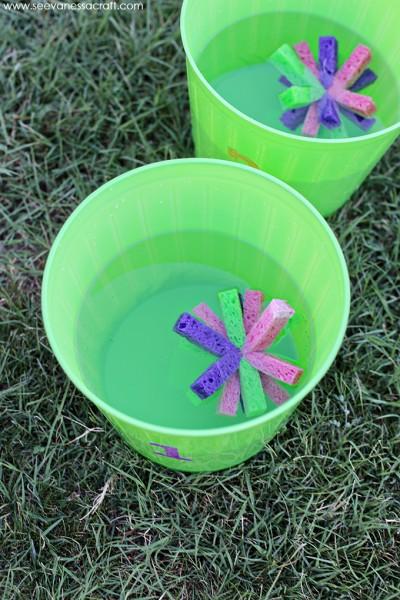 Sponge Toss Water Game