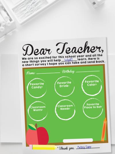 Back to School Teacher Survey - Free printable