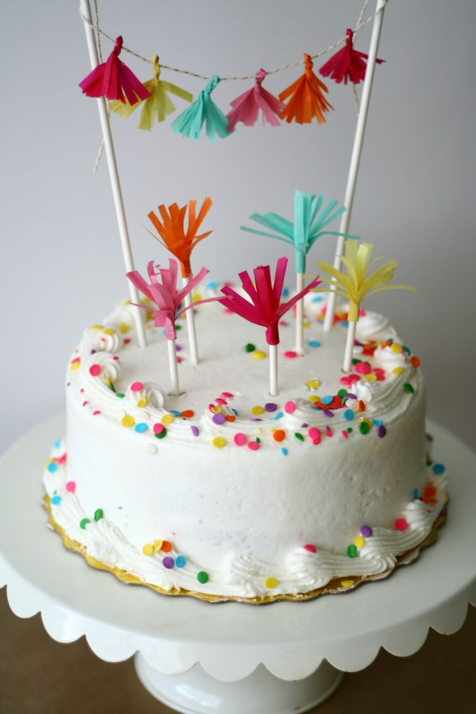 Coordinating DIY Tassel Cake Topper and Party Picks