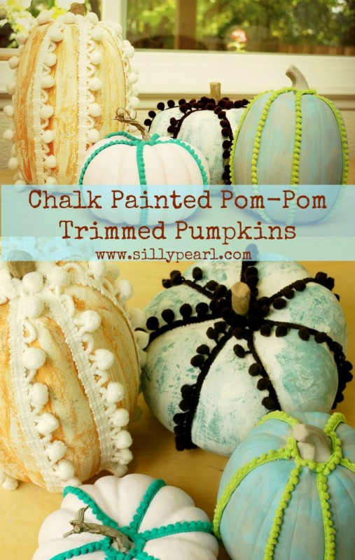 Chalk-Painted-Pom-Pom-Trimmed-Pumpkins-The-Silly-Pearl-507x800