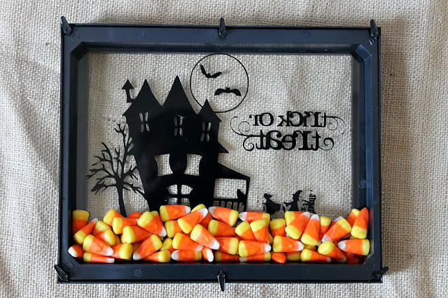 Trick or Treat Shadowbox with Candy Corn