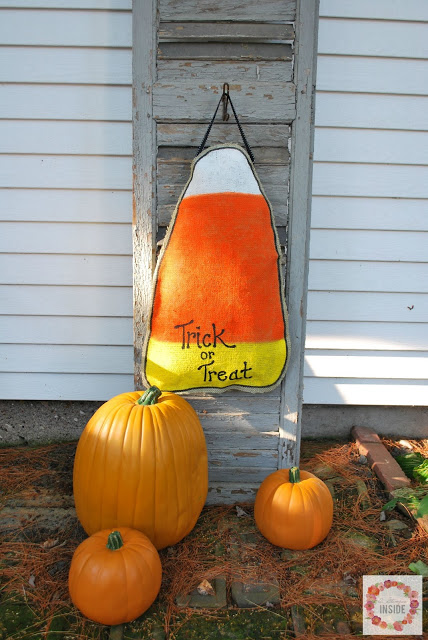 burlap candy corn- displayed