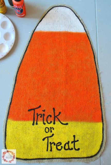 burlap candy corn- trick or treat