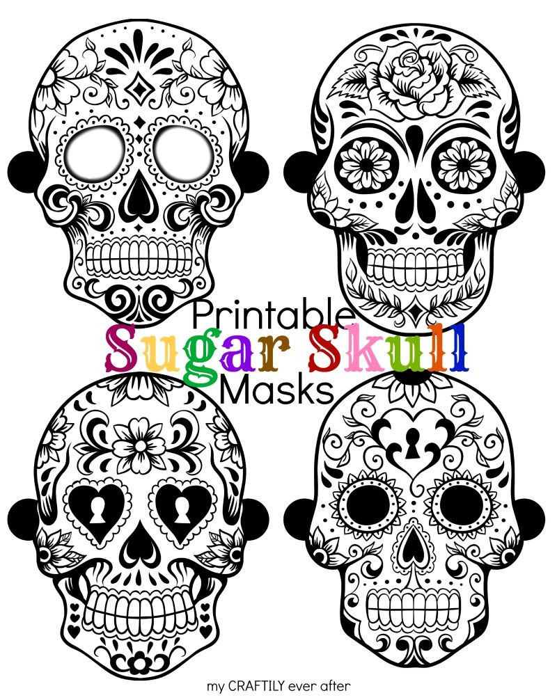 halloween printable sugar skull masks see vanessa craft