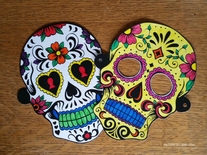 Halloween printable sugar skull masks see vanessa craft for Day of the dead skull mask template