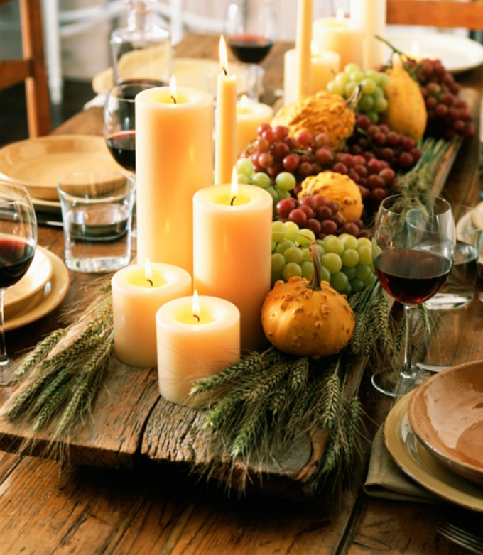 Thanksgiving 10 fall tablescapes see vanessa craft for Thanksgiving centerpieces with candles
