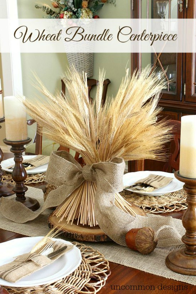 Rustic Thanksgiving table with wheat and burlap centerpiece