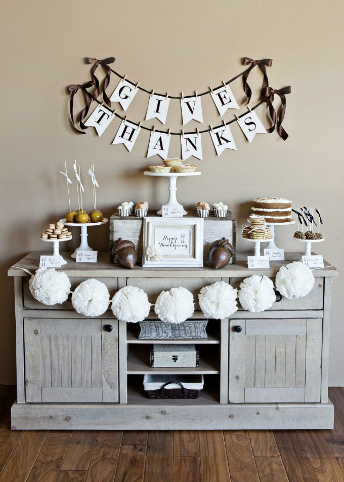 Classic Thanksgiving styled dessert bar in neutral colors