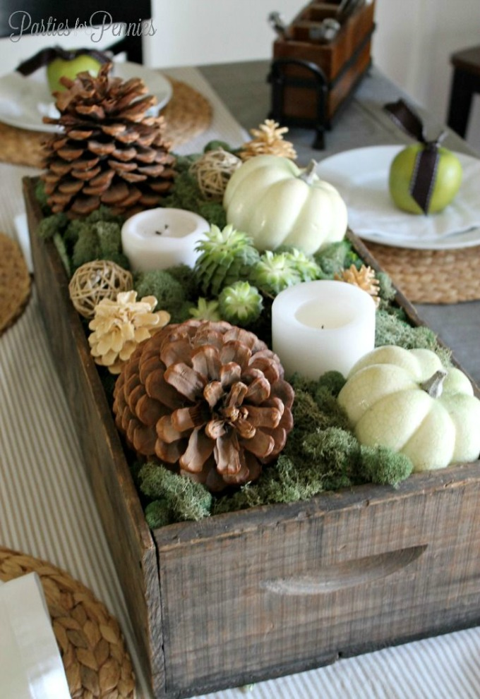 Natural Thanksgiving table centerpiece