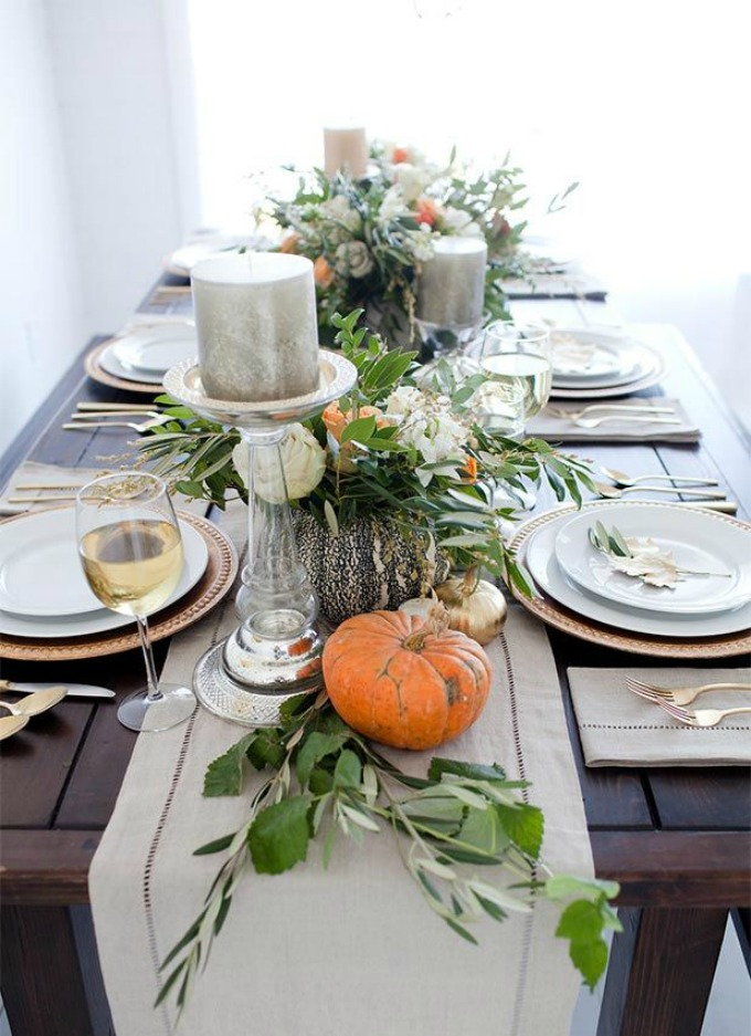Classic Thanksgiving table with mercury glass accents and a rustic touch
