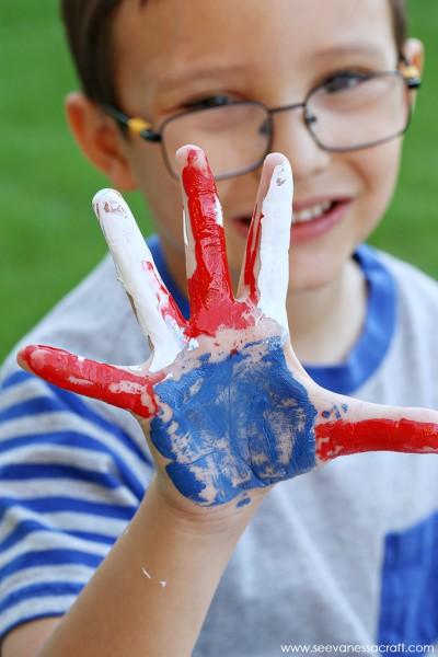 Veteran's Day Red, White & Blue Handprint Flag Craft