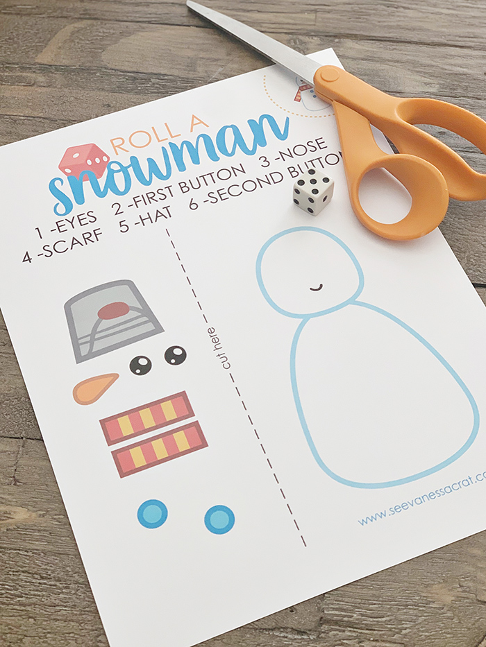 Easy Snowman Dice Game for Kids