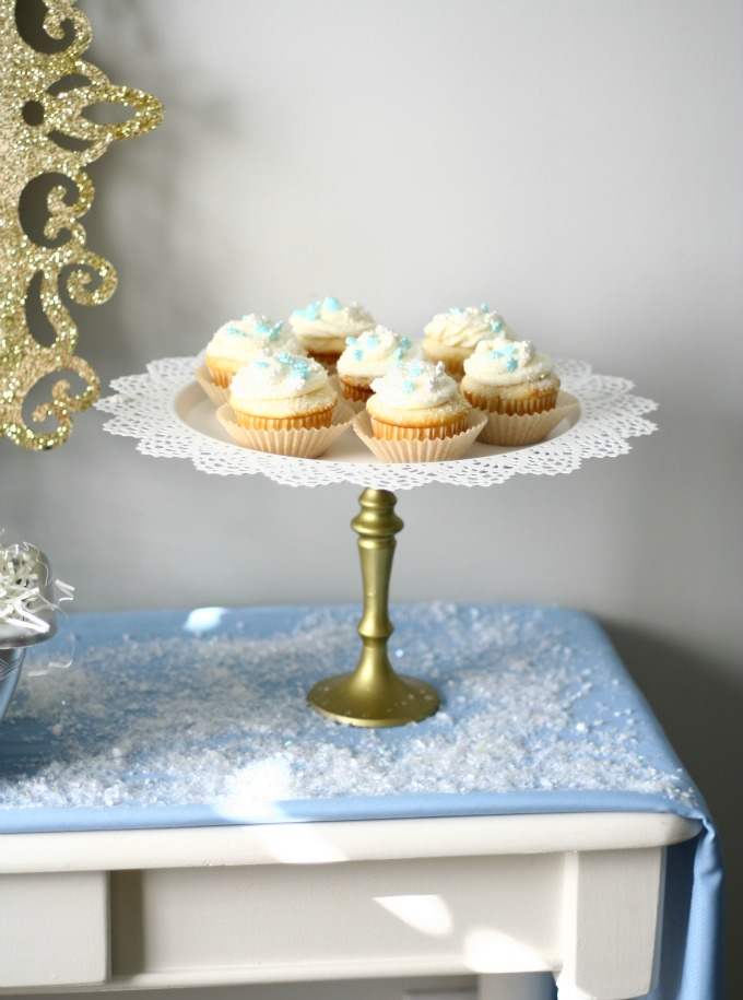 Snowflake Cupcakes Displayed On DIY Cake Stand