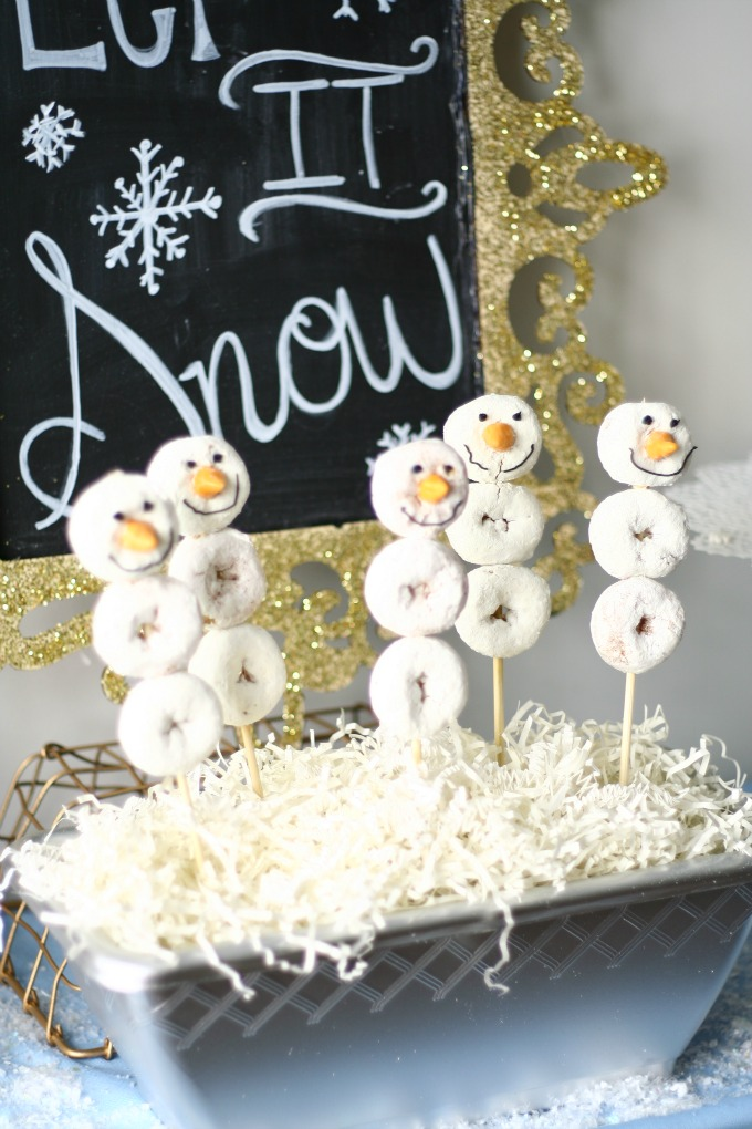 Donut Snowman Pops Made With Mini Powdered Donuts