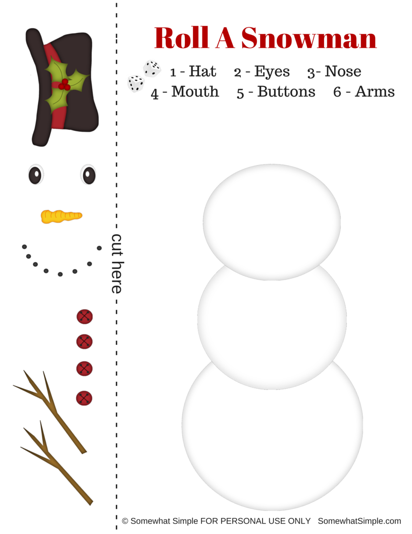 image regarding Free Printable Snowman called Xmas: Straightforward Snowman Cube Match - View Vanessa Craft