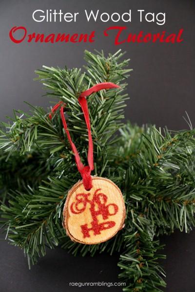 Christmas: Glitter Wood Tag Ornament