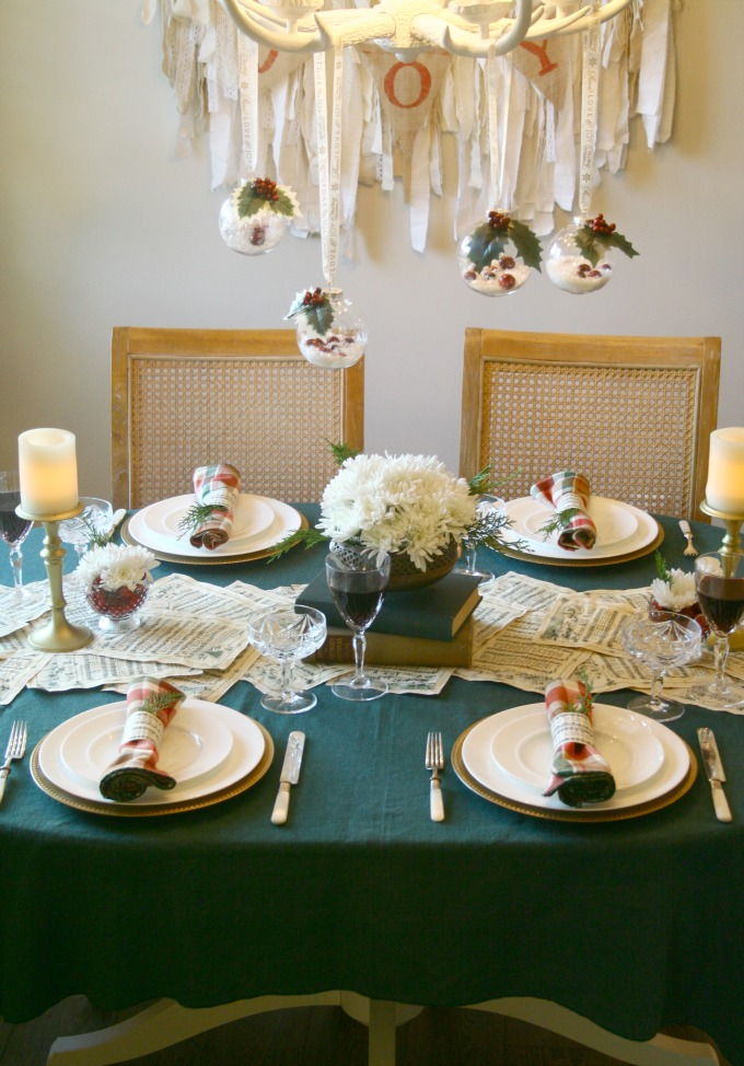 Vintage Christmas Table With Hanging Ornaments