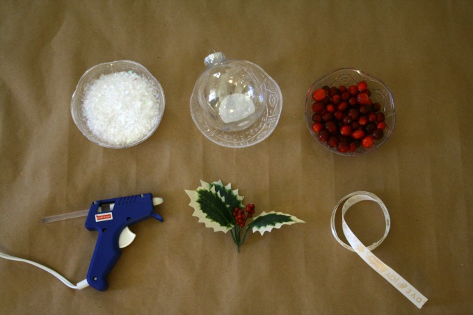 Materials To Make DIY Mistletoe Christmas Ornaments With Snow