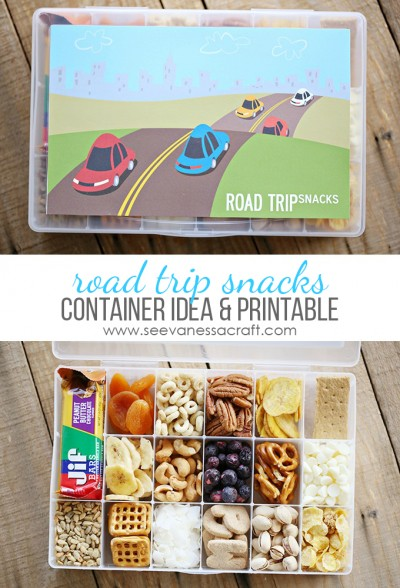 Road Trip Snacks Container for Kids and Free Printable!