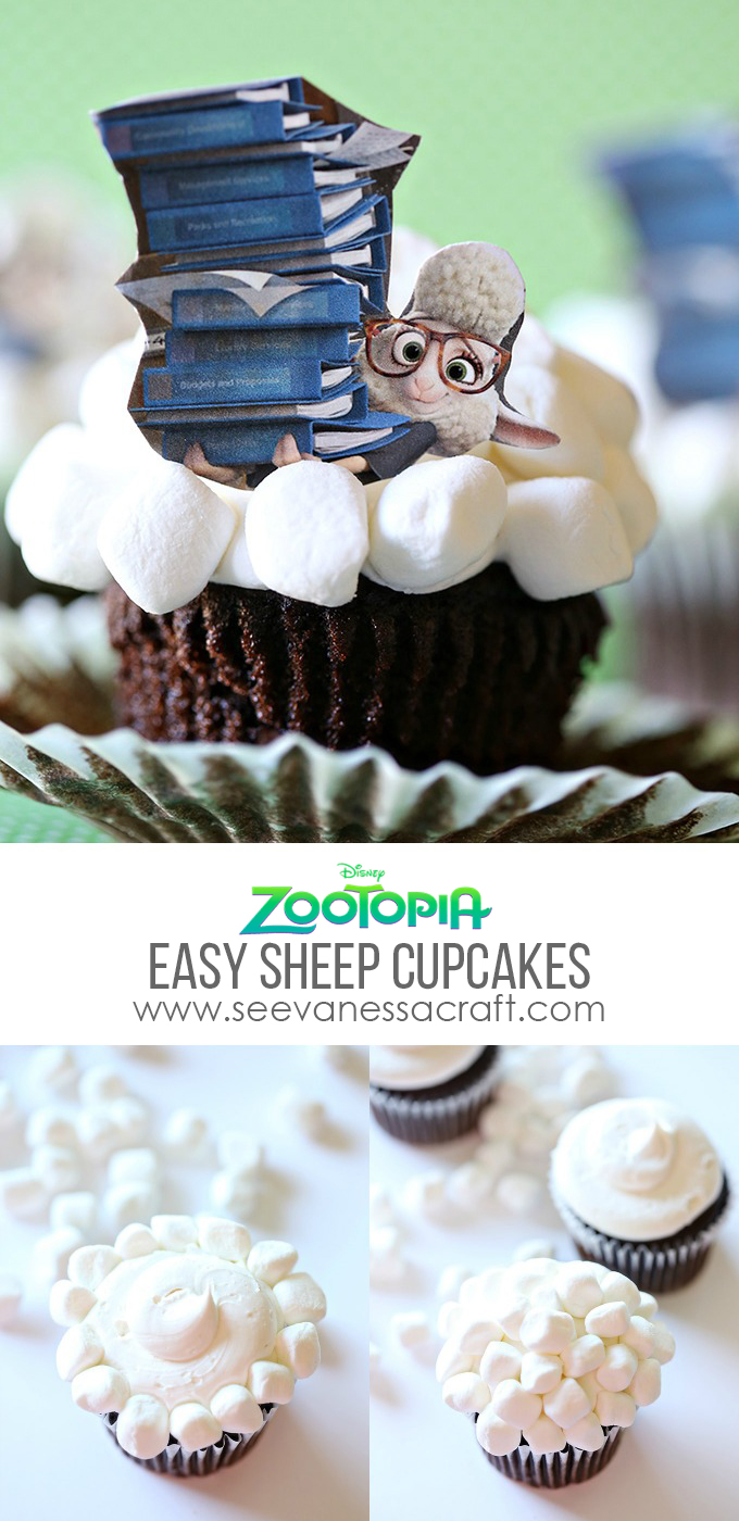 Zootopia Easy Sheep Cupcakes