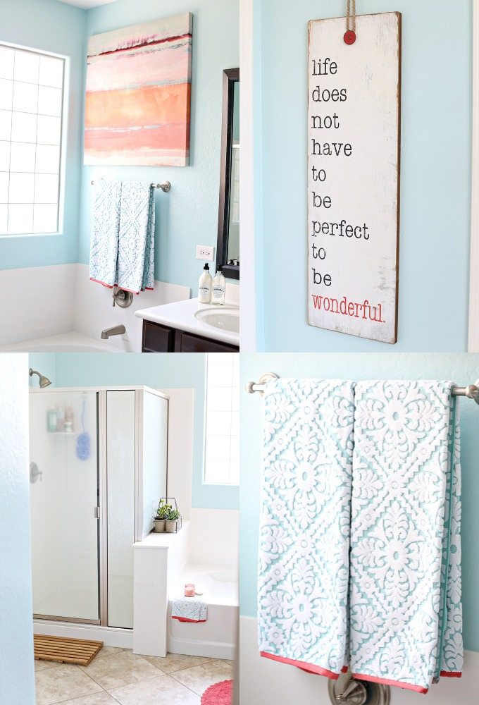 Diy coral and aqua bathroom makeover see vanessa craft for Aqua and coral bathroom