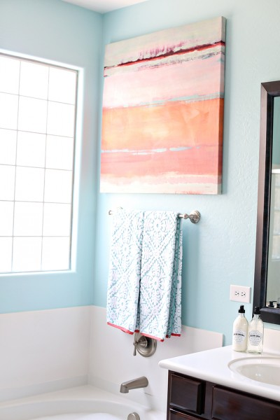 Aqua and Coral Master Bathroom Makeover on a Budget