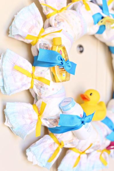 Baby Shower Diaper Wreath Tutorial