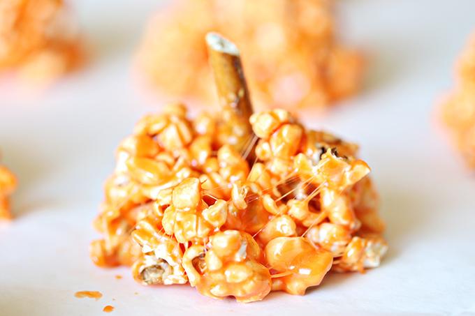 Halloween Pumpkin Marshmallow Popcorn Balls