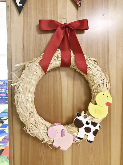 Classroom Barn Door and Easy Farm Animal Straw Wreath