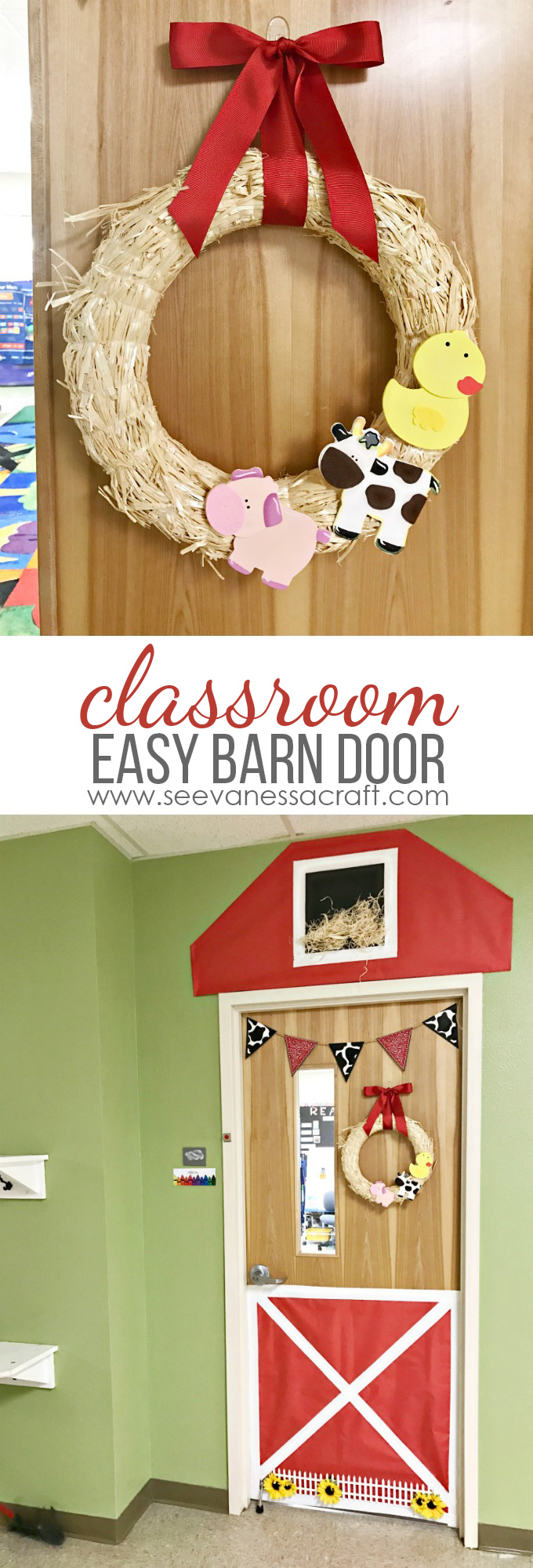 Classroom Decoration Easy ~ Craft easy classroom barn door and farm animal wreath