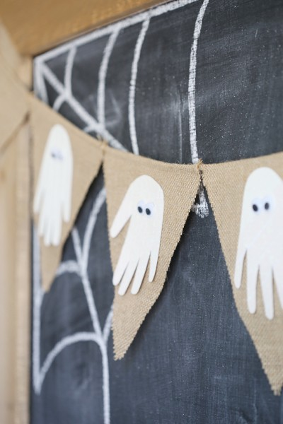 Halloween Handprint Ghost Banner Craft