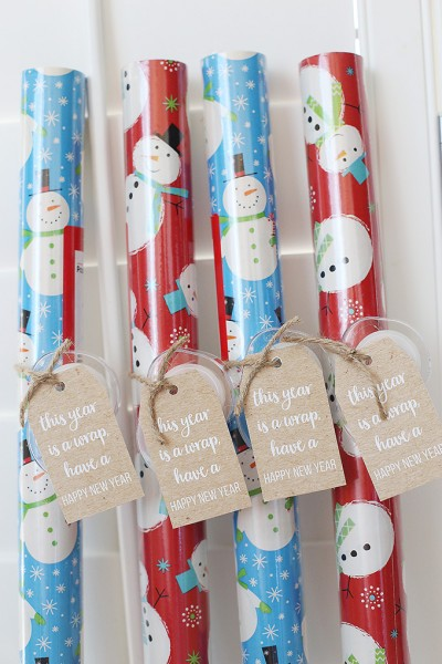 Last Minute Christmas Wrapping Paper Rolls Gift Idea for Teachers